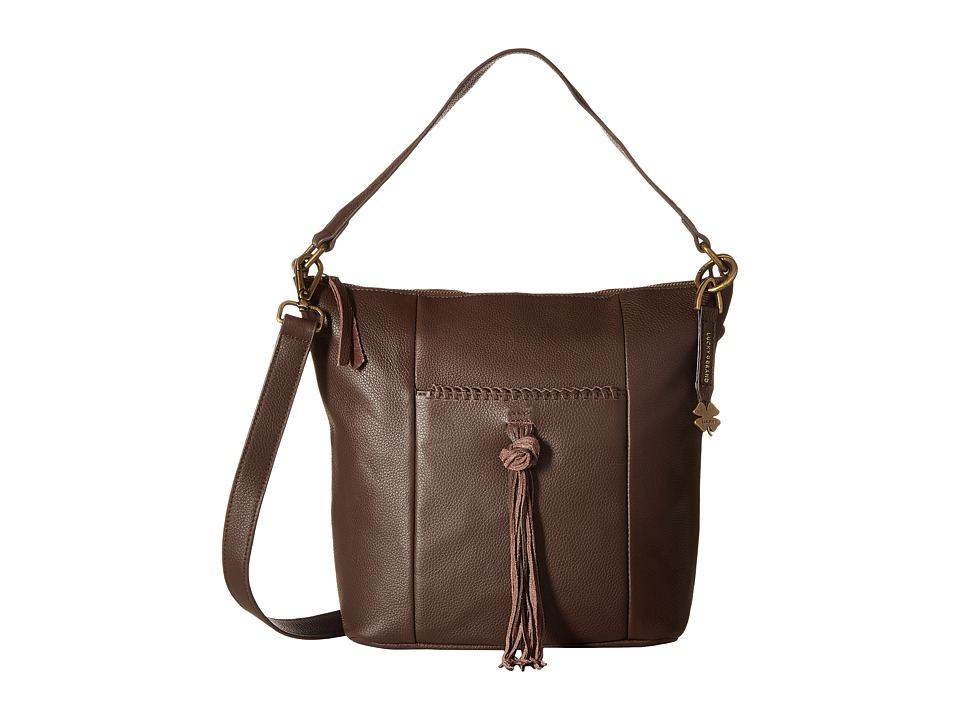 Lucky Brand - Carmen Top Zip Bucket Crossbody (Chocolate) Cross Body Handbags