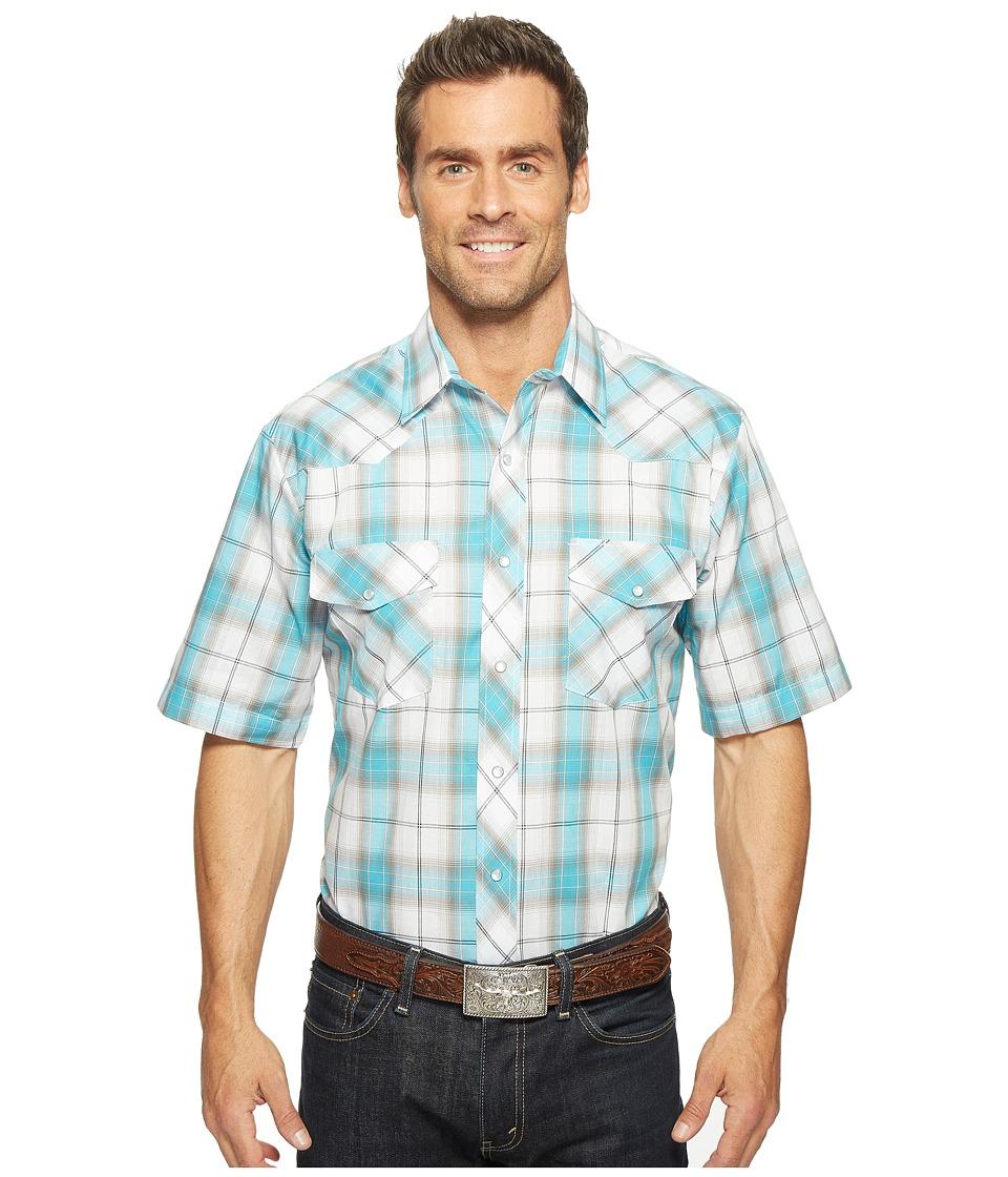 Roper - 0918 Turquoise Grey Plaid (Blue) Men's Clothing