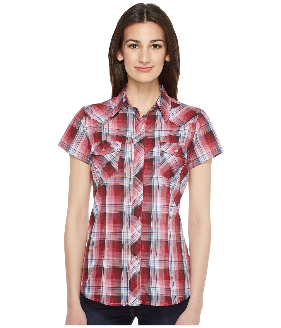 Roper - 0926 Cranberry Plaid w/ Silver Lurex (Red) Women's Clothing