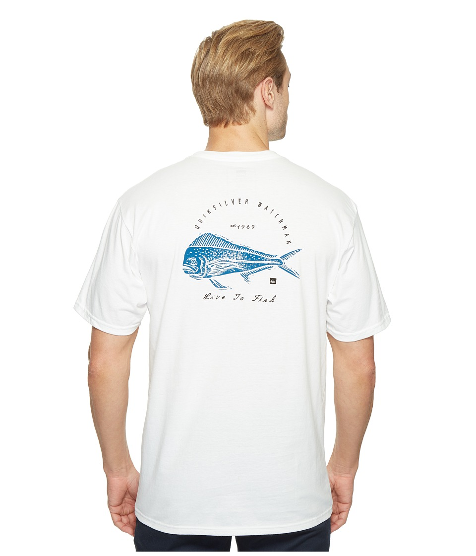 Quiksilver Waterman - Live to Fish Short Sleeve T-Shirt (White) Men's T Shirt