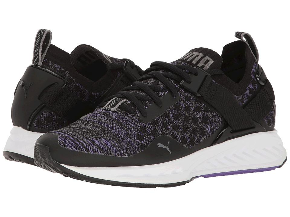 PUMA - Ignite evoKNIT Lo (Puma Black/Electric Purple/Quiet Shade) Women's Running Shoes