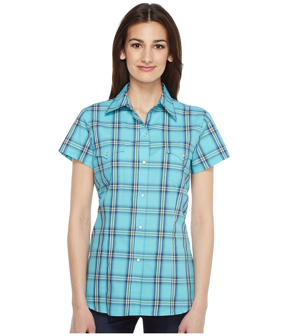 Roper - 0831 Sea Ombre Plaid (Blue) Women's Clothing