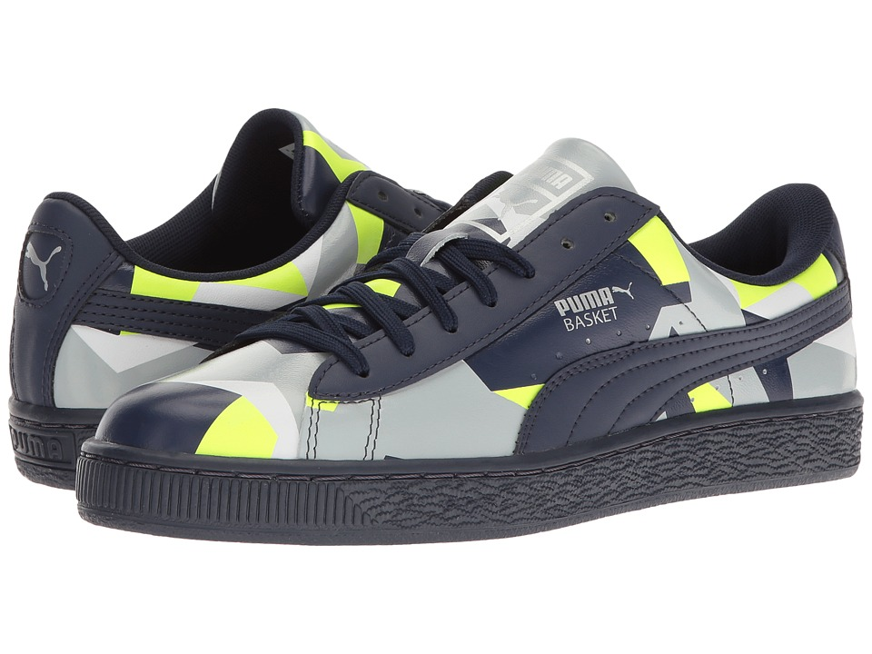 PUMA - Basket Classic Graphic (Peacoat/Safety Yellow/Quarry) Men's Shoes