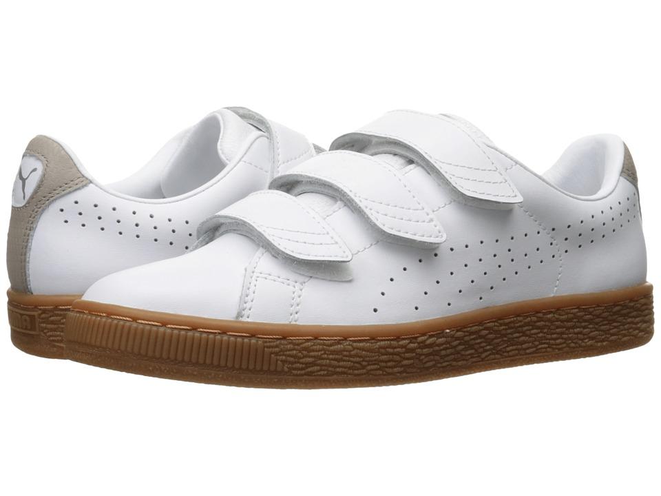 PUMA - Basket Classic Strap Citi (Puma White/Vintage Khaki) Men's Shoes