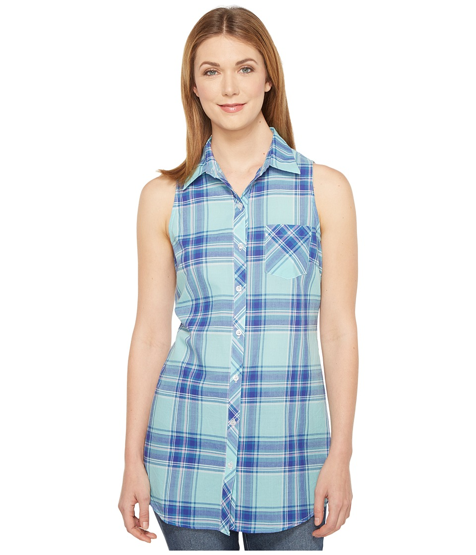 Roper - 0854 Turquoise Plaid Sleeveless Shirt (Blue) Women's Sleeveless