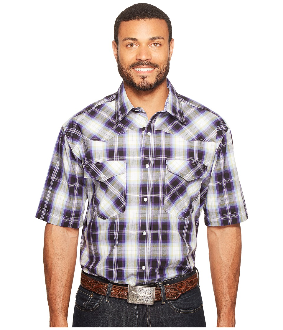 Roper - 0834 Driftwood Plaid Snap (Blue) Men's Clothing