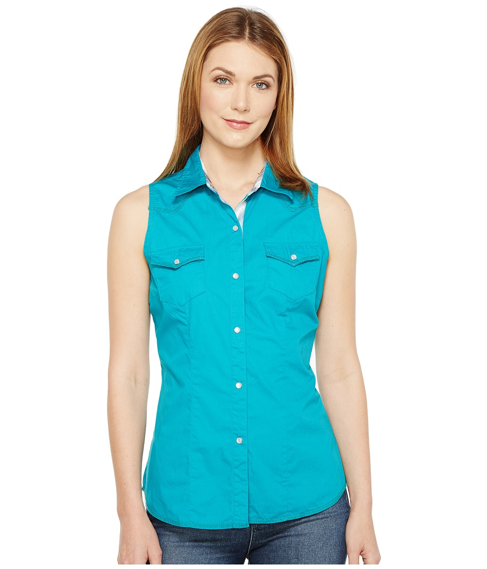 Roper - 0855 Solid Teal Poplin (Green) Women's Sleeveless