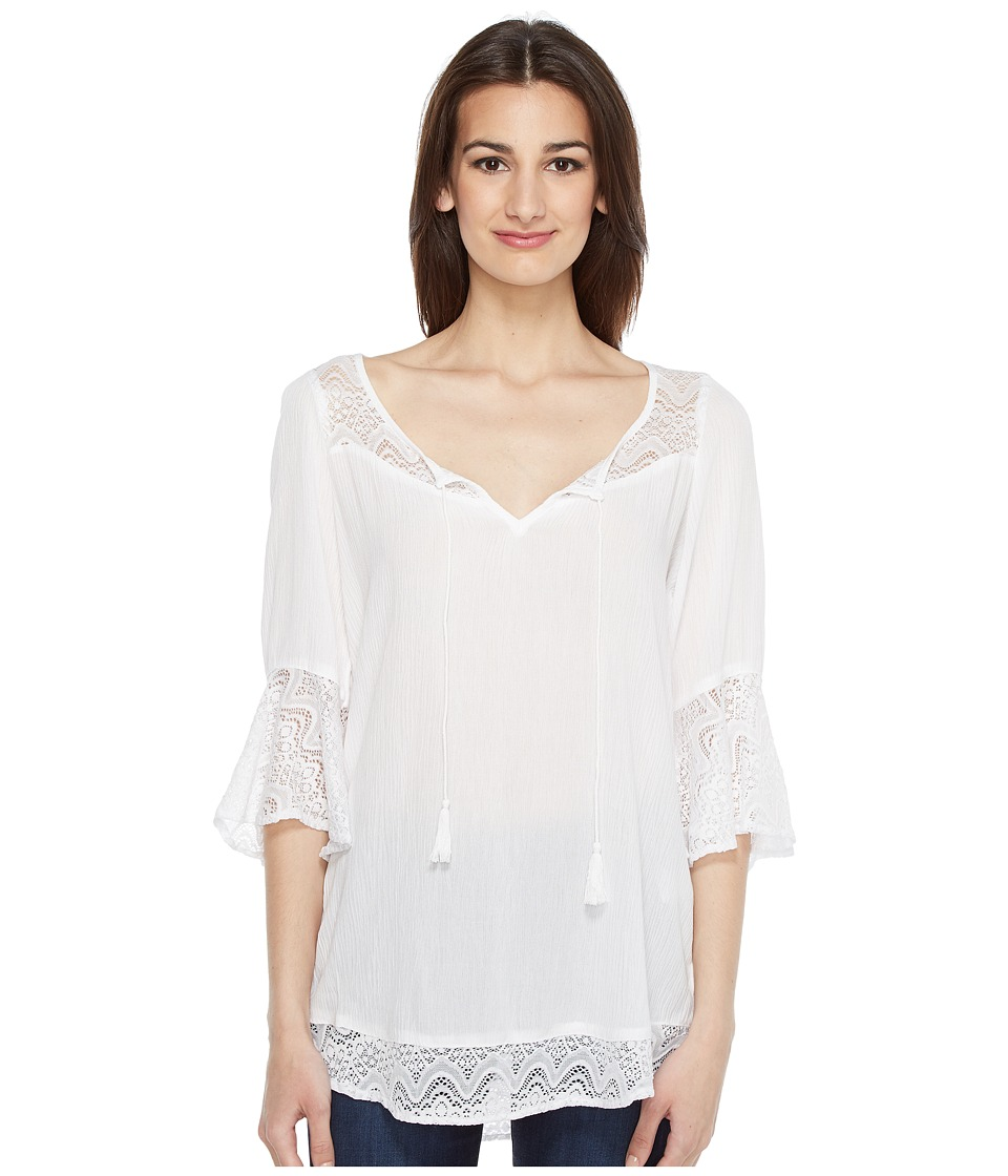Roper - 0877 Crepe Blouse (White) Women's Clothing