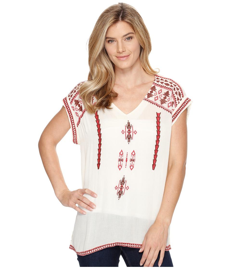 Roper - 0909 Rayon Crepe Tunic (White) Women's Blouse