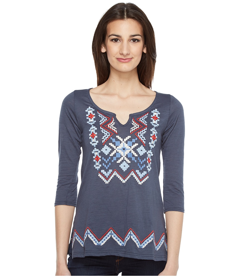 Roper - 0892 Slub Jersey Tunic (Blue) Women's Blouse