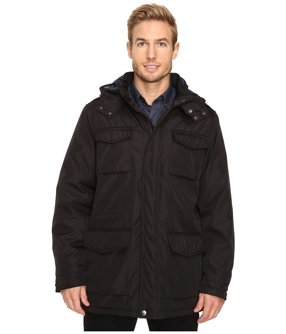 Perry Ellis - Poly Zip Front with Snap Placket Removable Hood (Black) Men's Coat