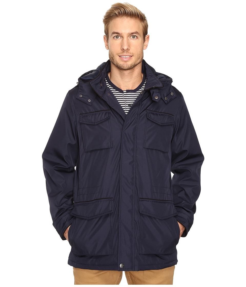 Perry Ellis - Poly Zip Front with Snap Placket Removable Hood (Navy) Men's Coat