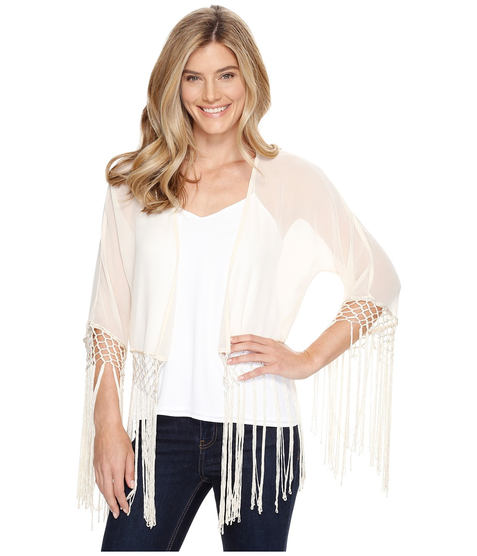Roper - 0947 Cream Georgette Fringed Cardigan (White) Women's Sweater