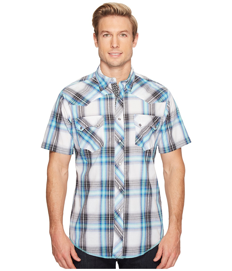 Roper - 0849 Aviator Plaid (Blue) Men's Clothing