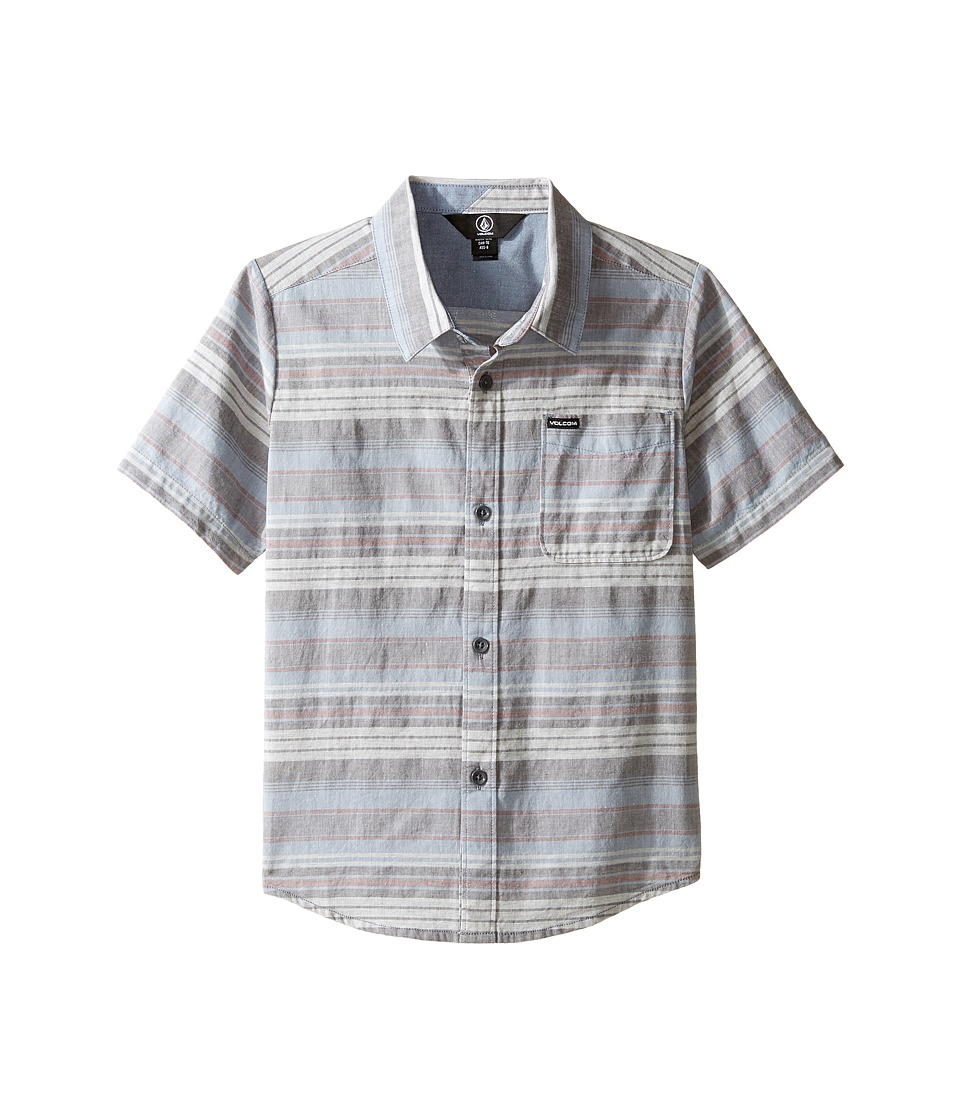 Volcom Kids - Clockwork Short Sleeve Woven Top (Toddler/Little Kids) (Ash Blue) Boy's Short Sleeve Button Up