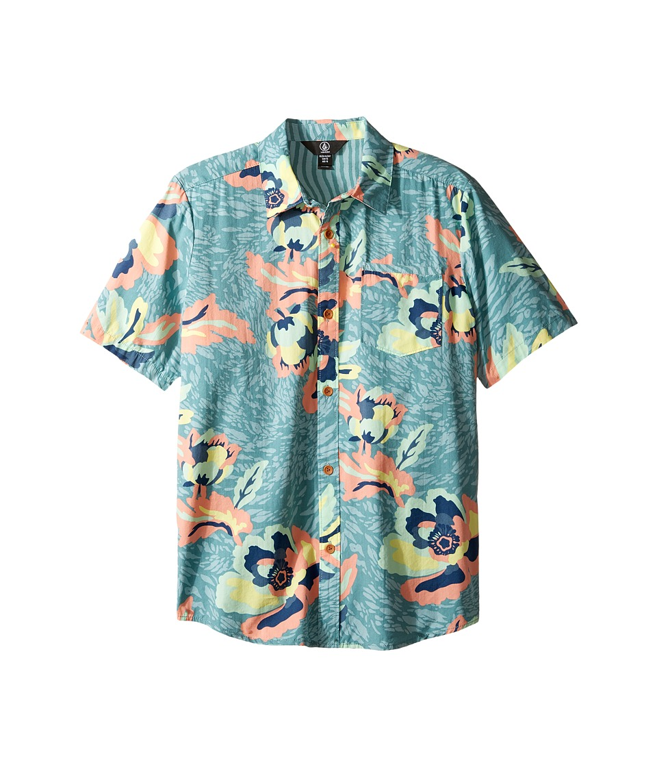 Volcom Kids - Cubano Short Sleeve Woven Top (Big Kids) (Sea Blue) Boy's Short Sleeve Button Up
