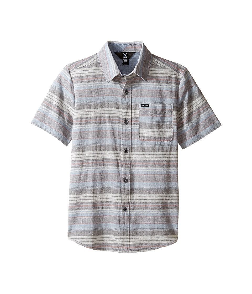 Volcom Kids - Clockwork Short Sleeve Woven Top (Big Kids) (Ash Blue) Boy's Short Sleeve Button Up