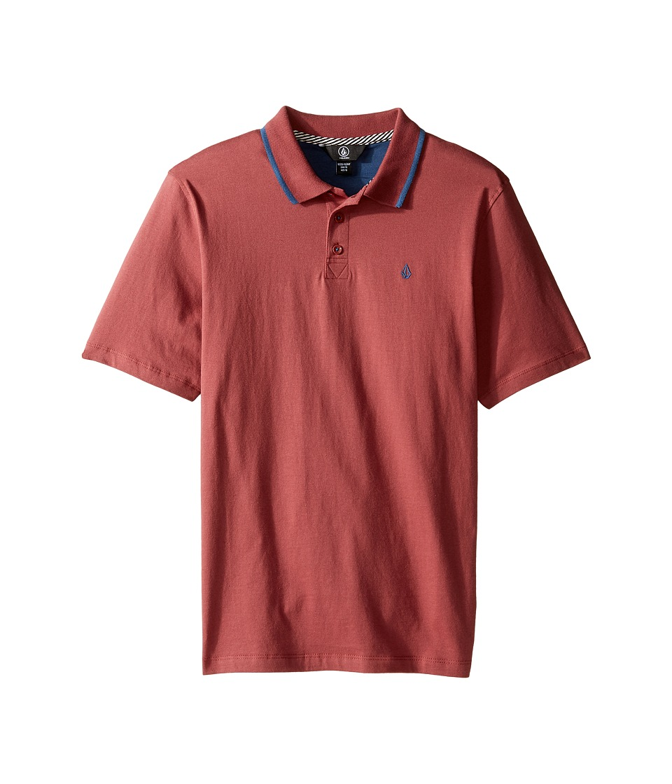 Volcom Kids - Wowzer Contrast Polo Top (Big Kids) (Vine Red) Boy's Short Sleeve Pullover