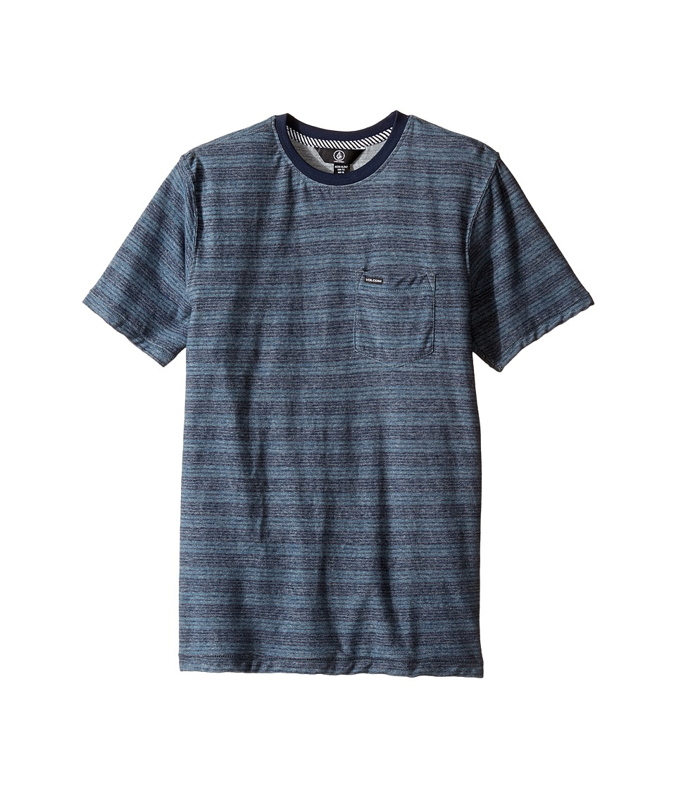 Volcom Kids - Alden Crew Knit Top (Big Kids) (Airforce Blue) Boy's Short Sleeve Pullover