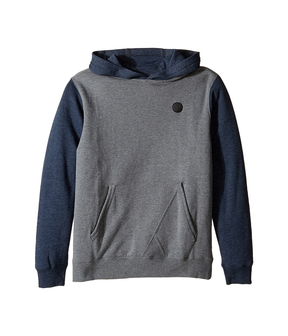 Volcom Kids - Single Stone Color Block Hoodie (Big Kids) (Dark Grey Heather) Boy's Sweatshirt