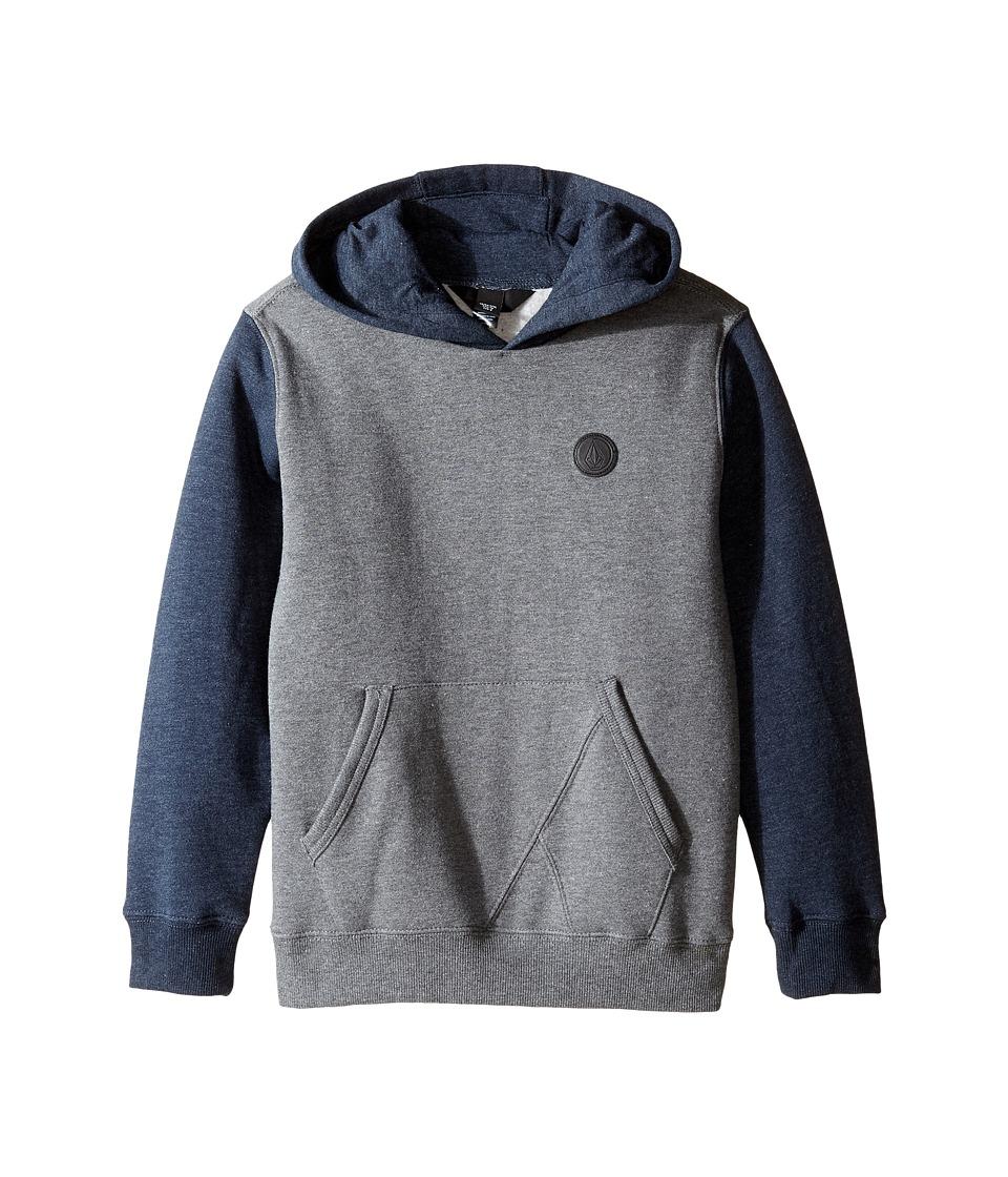 Volcom Kids - Single Stone Color Block Hoodie (Toddler/Little Kids) (Dark Grey) Boy's Sweatshirt