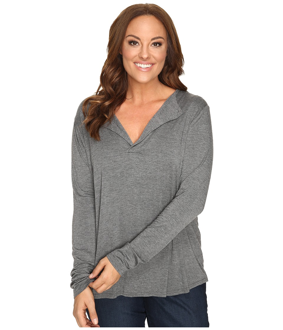 Stetson - Plus Size 0759 Rayon Knit V-Neck Blouse (Grey) Women's Blouse