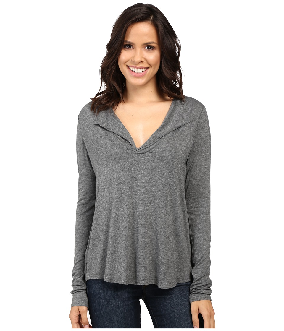 Stetson - 0759 Rayon Knit V-Neck Blouse (Grey) Women's Blouse
