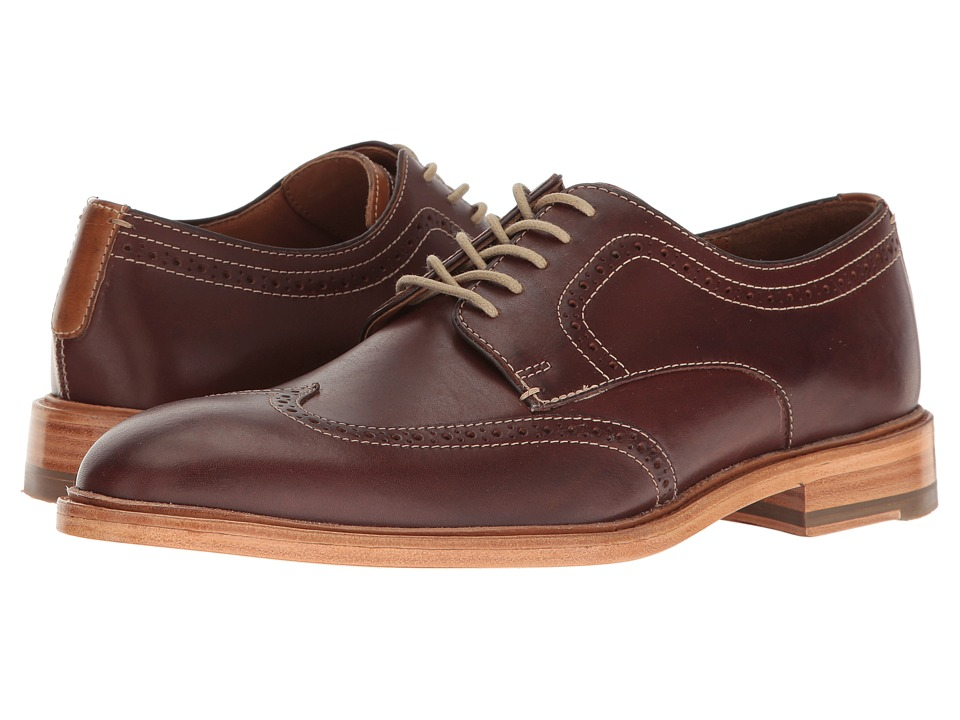 Johnston & Murphy - Campbell Wingtip (Mahogany Full Grain) Men's Lace Up Wing Tip Shoes