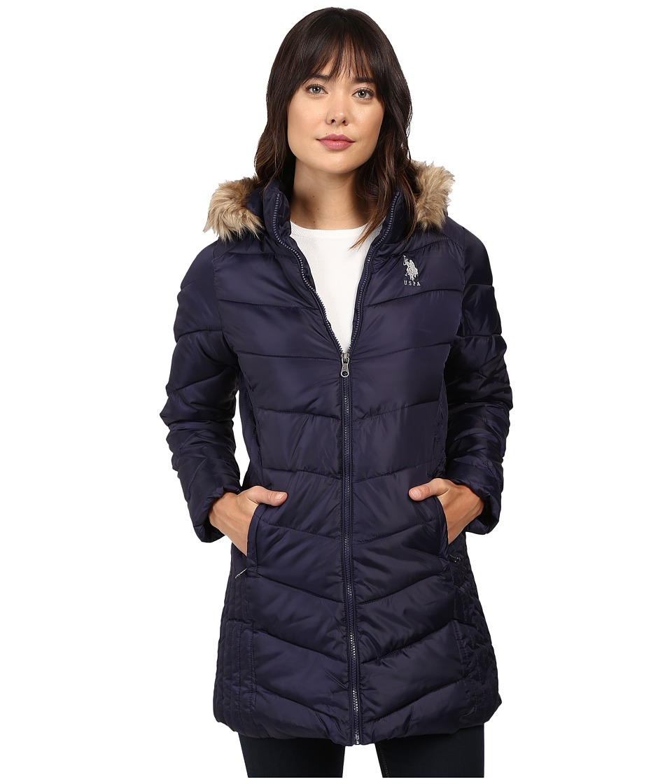 U.S. POLO ASSN. - Faux Fur Trimmed Parka Jacket (Evening Blue) Women's Coat