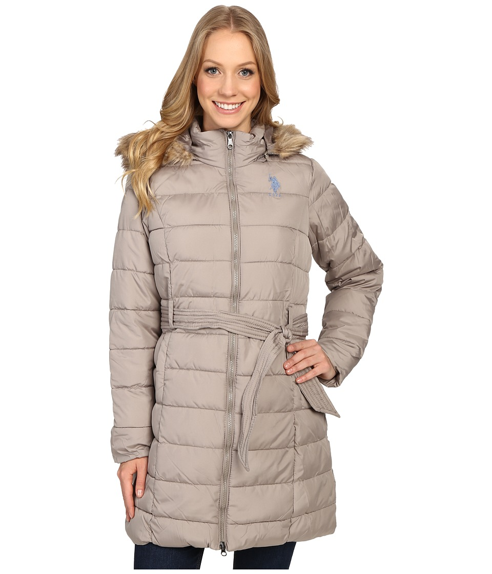 U.S. POLO ASSN. - Long Puffer Jacket with Fur Hood (Moonrock) Women's Coat