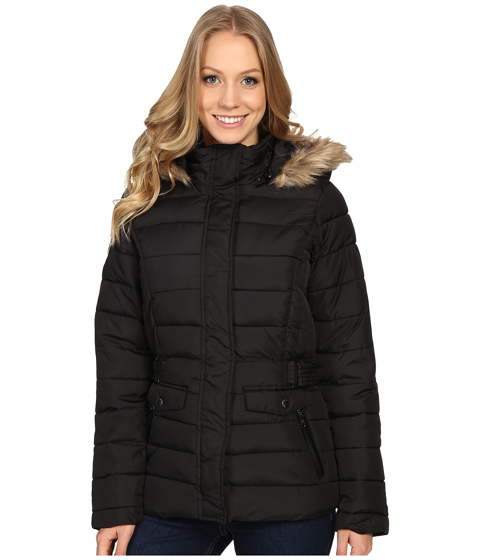 U.S. POLO ASSN. - Short Puffer Jacket with Fur Hood (Black) Women's Coat