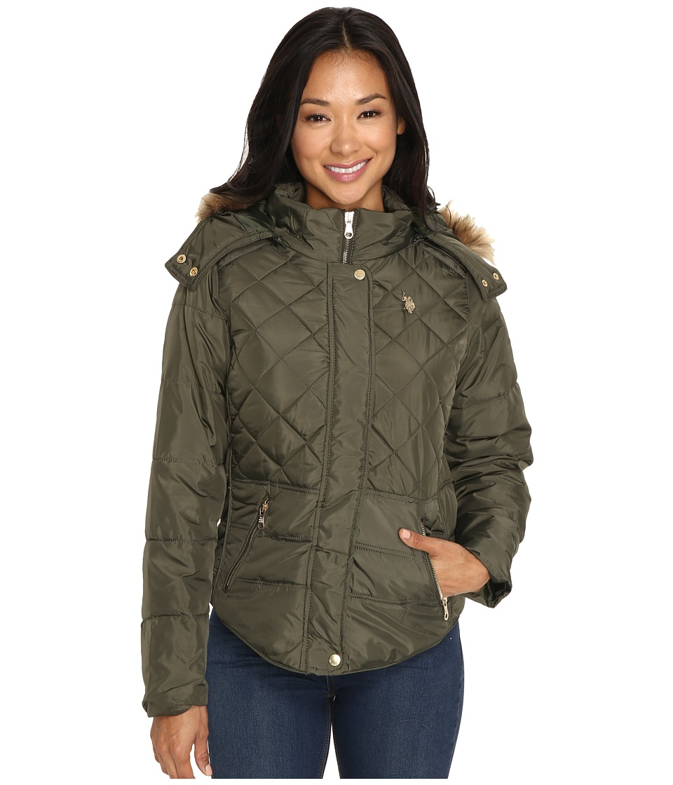 U.S. POLO ASSN. - Fur Hooded Puffer Jacket (Burnt Olive) Women's Coat