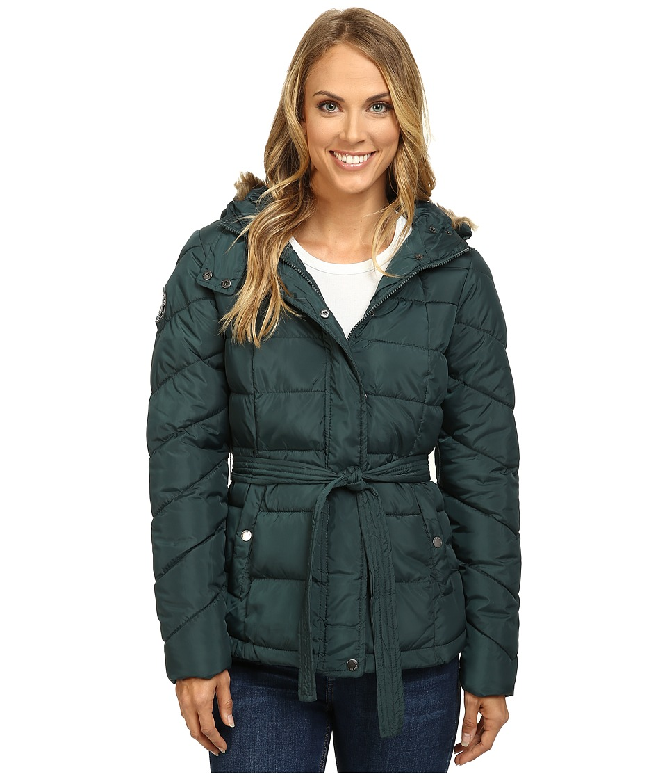 U.S. POLO ASSN. - Long Belted Puffer Jacket (Deep Teal) Women's Coat