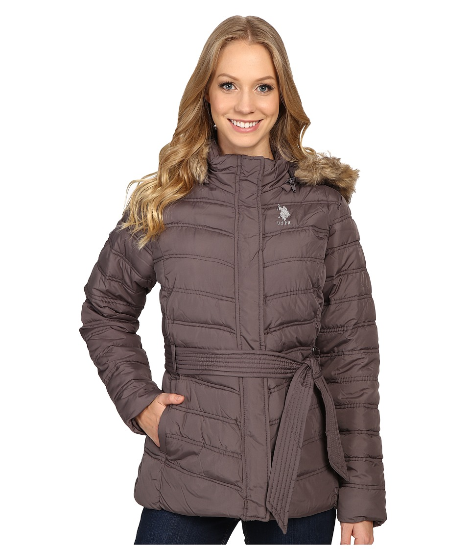 U.S. POLO ASSN. - Belted Puffer Jacket with Faux Fur Hood Trim (Gray) Women's Coat