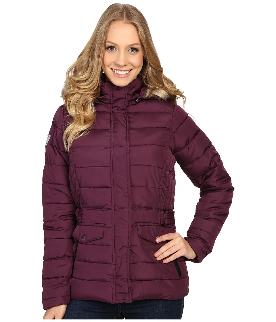 U.S. POLO ASSN. - Short Puffer Jacket with Fur Hood (Merlot) Women's Coat