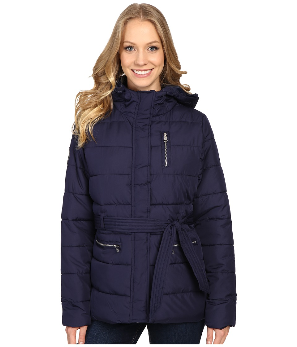 U.S. POLO ASSN. - Long Puffer Jacket with Belt (Evening Blue) Women's Coat