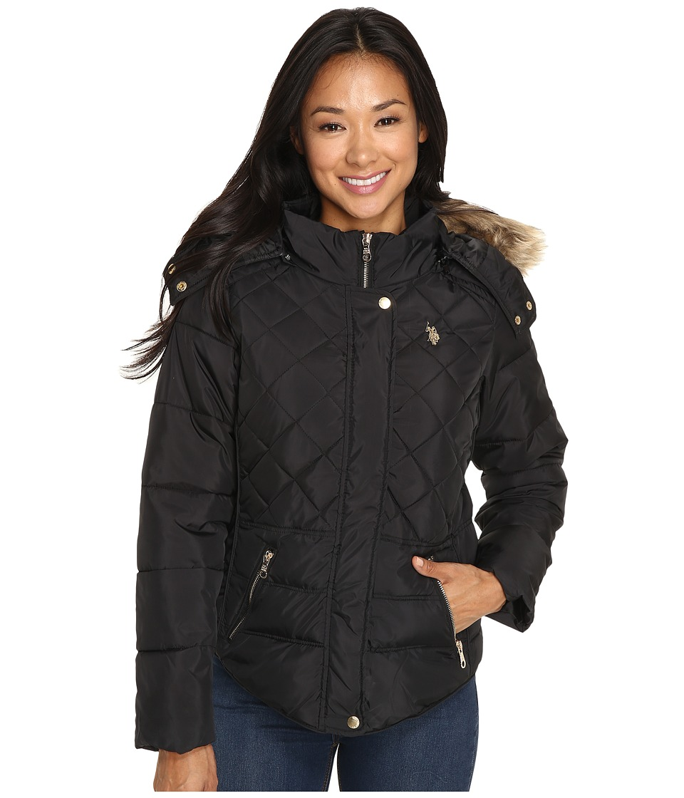 U.S. POLO ASSN. - Fur Hooded Puffer Jacket (Black) Women's Coat