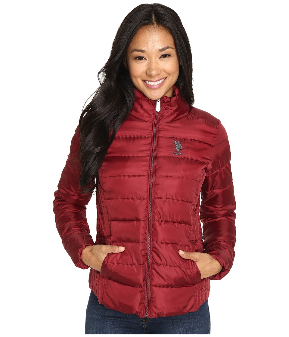 U.S. POLO ASSN. - Quilted Puffer Zip-Up Jacket (Rumba Red) Women's Coat