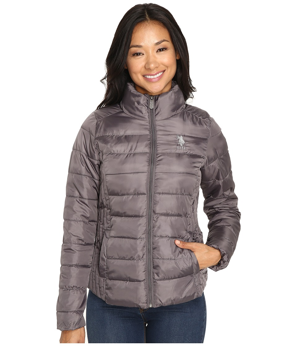 U.S. POLO ASSN. - Quilted Puffer Zip-Up Jacket (Gray) Women's Coat
