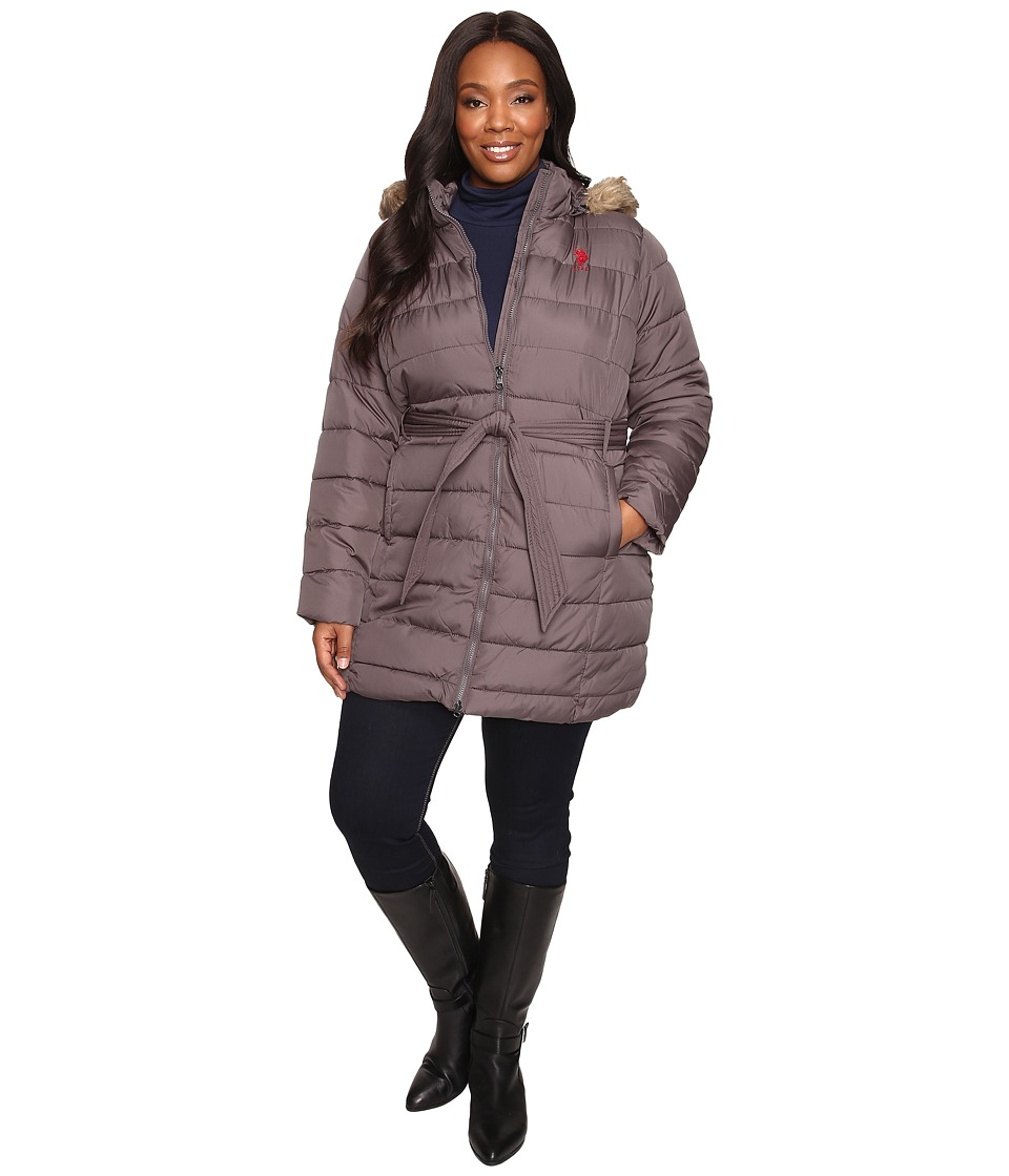 U.S. POLO ASSN. - Plus Size Long Belted Puffer with Fur Hood (New Gray) Women's Coat