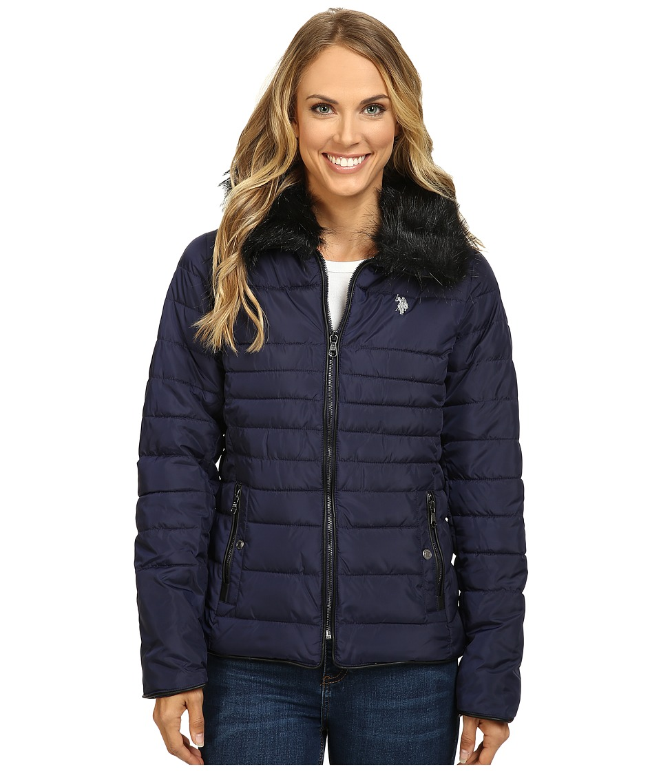 U.S. POLO ASSN. - Puffer Fashion Jacket with Fur Collar (Evening Blue) Women's Coat