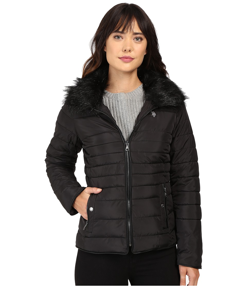U.S. POLO ASSN. - Puffer Fashion Jacket with Fur Collar (Black) Women's Coat