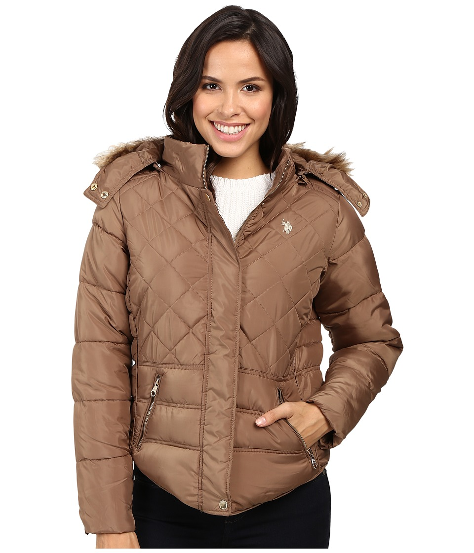 U.S. POLO ASSN. - Fur Hooded Puffer Jacket (Caramel) Women's Coat