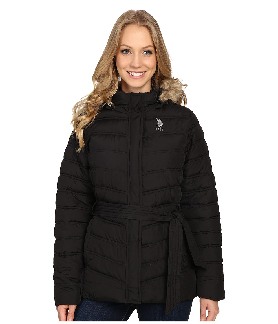 U.S. POLO ASSN. - Belted Puffer Jacket with Faux Fur Hood Trim (Black) Women's Coat