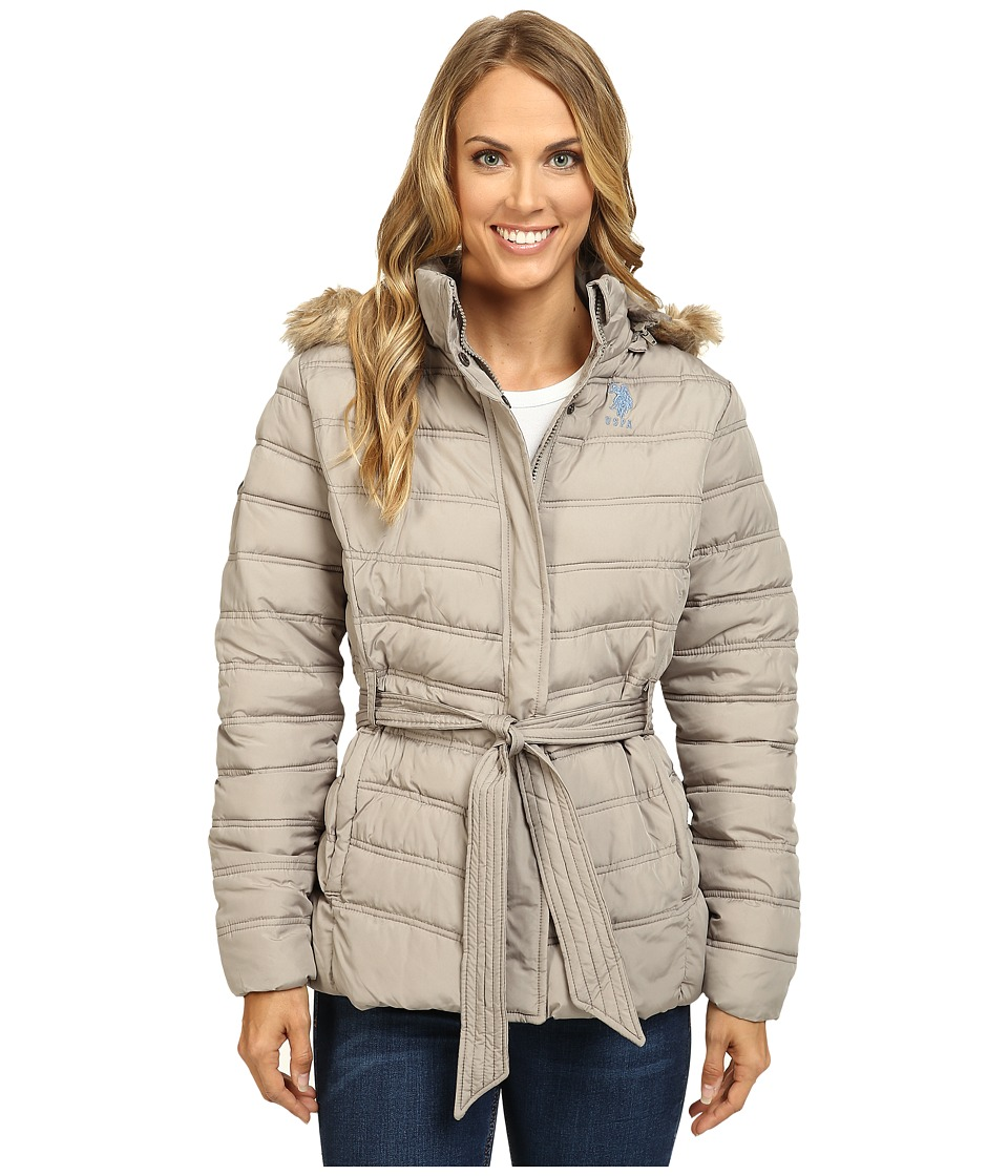 U.S. POLO ASSN. - Belted Puffer Jacket with Faux Fur Hood Trim (Moonrock) Women's Coat