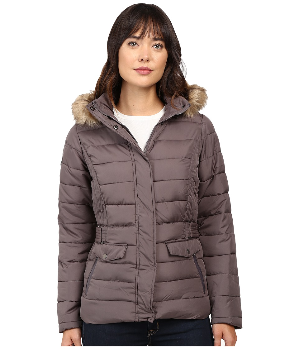 U.S. POLO ASSN. - Short Puffer Jacket with Fur Hood (Gray) Women's Coat