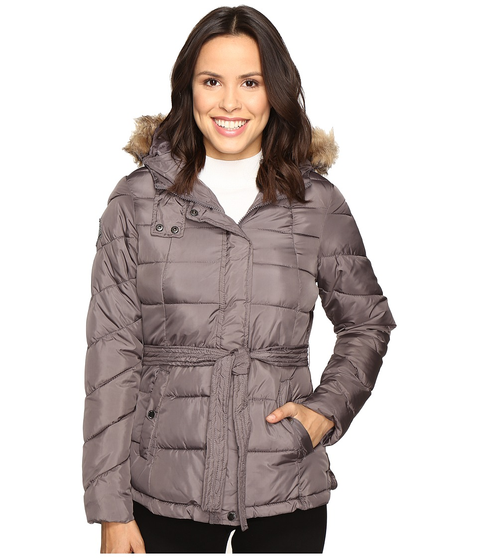 U.S. POLO ASSN. - Long Belted Puffer Jacket (Gray) Women's Coat