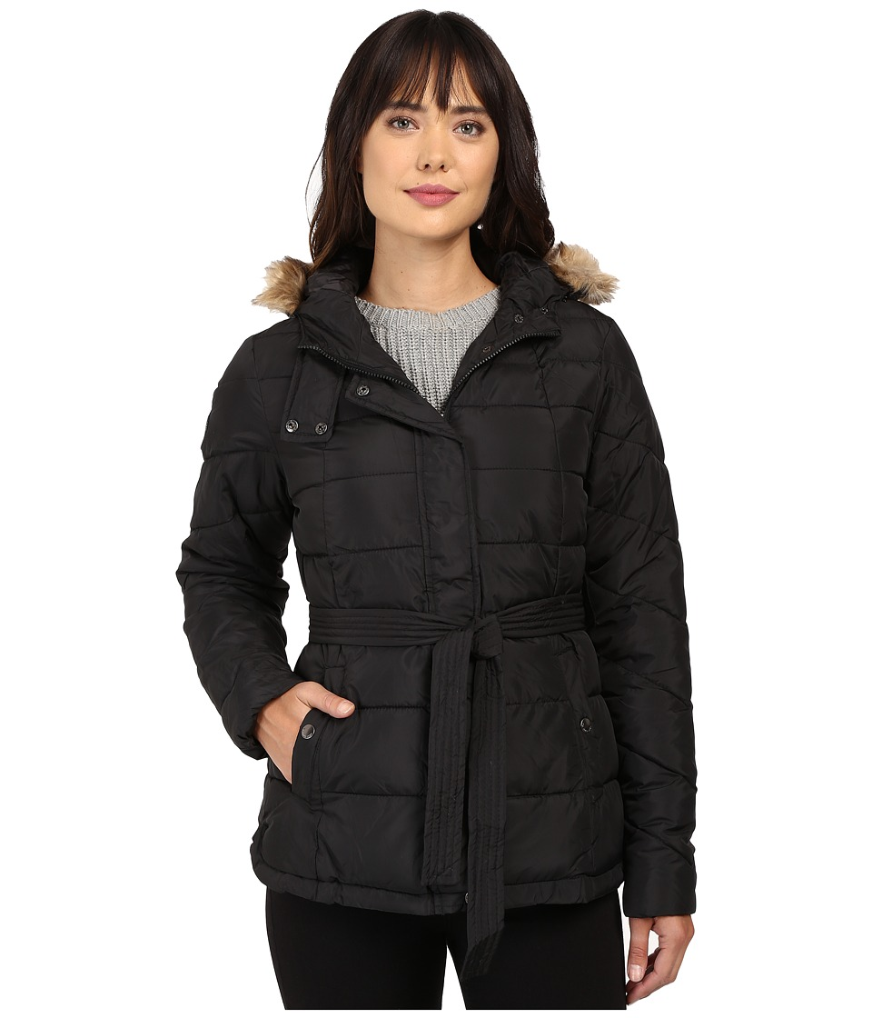 U.S. POLO ASSN. - Long Belted Puffer Jacket (Black) Women's Coat