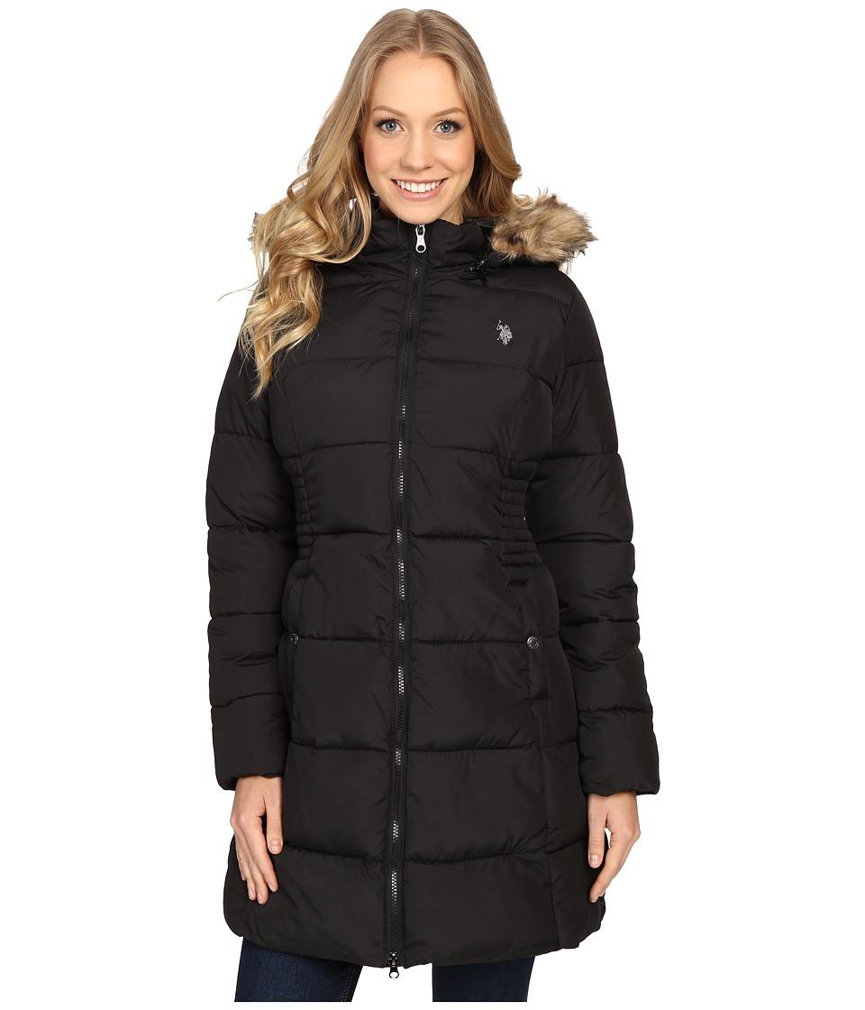 U.S. POLO ASSN. - Fur Hooded Long Puffer Jacket (Black) Women's Coat