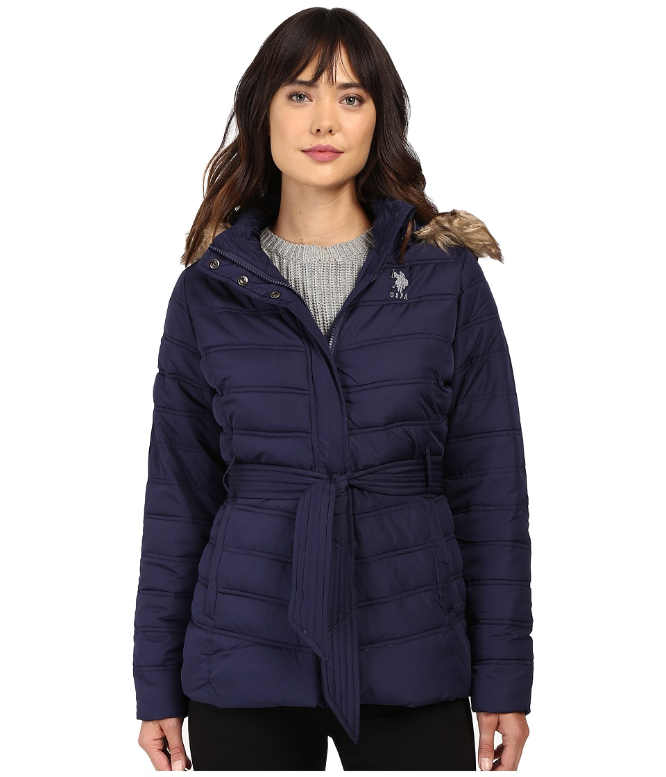 U.S. POLO ASSN. - Belted Puffer Jacket with Faux Fur Hood Trim (Evening Blue) Women's Coat